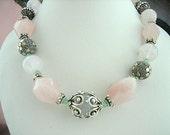 Necklace - Rose Quartz  necklace - Crystal Quartz - Bali silver jewelry - Sterling silver jewels