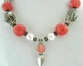 Necklace - Cherry Quartz - Smoky Quartz - Cherry Quartz coin- Sterling silver