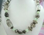 Necklace - Tourmalinated Quartz  - Flourite Rondells - Sterling silver