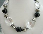 Necklace - Crystal Quartz - Black Agate - Bali silver - Sterling silver