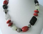 Necklace- Coral- Agate - Lava - Tourmalinated Quartz - Bali Silver