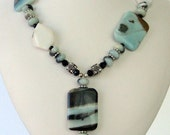 Necklace - Amazonite Pendant - Amazonite squares-Sterling silver- Bali siver - Unformed Agate