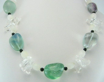 Necklace - Necklace with Fluorite - Crystal chips - black Onyx - Gift Idea