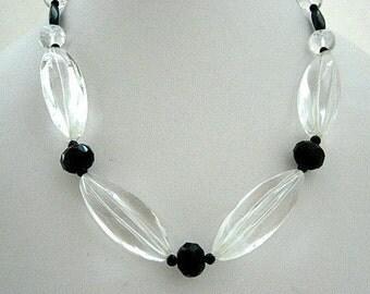 Necklace- Crystal Quartz - black Quartz Roundells- blue Sandstone- Gift idea - A simple CHIC