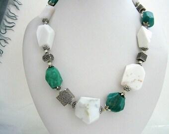 Necklace - White Agate - Russian Amazonite-Sterling silver-Bali silver