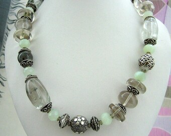 Necklace - Tourmalinated Quartz  - Flourite Rondells - Sterling silver