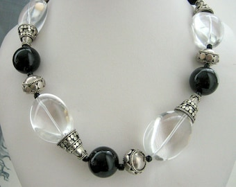 Necklace - Crystal Quartz - Black Agate - Bali silver - Sterling silver