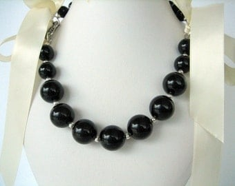 Necklace-Black Agate- Round Agate-Satin ribbon-gift idea
