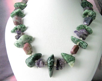 Necklace - Unformed Jasper - Amethysts chips - Agate nuggets- Sterling silver - Gift for her