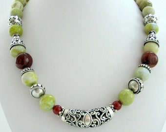 Necklace - Jade - Cornelian - Sterling silver- Bali silver- Gift for her