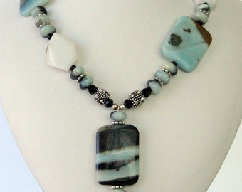 Necklace - Amazonite Pendant - Amazonite squares-Sterling silver- Bali siver - Unformed Agate