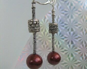 Earrings - Burgundy  - Modern- Bali Sterling silver- Pearls