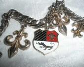 Charm Bracelet, Vintage, French, france, Fluer De Lis, VINTAGE, foldover clasp, goldtplate