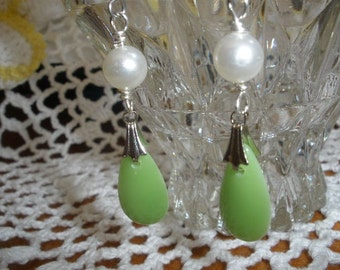 Wonderful  'ART DECO'  Color of GREEN Vintage Glass Drops with Vintage Recycled Pearl on goldtoneor silvertone Findings....