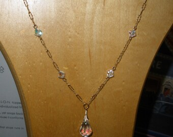 sample sale, 14K Gold Fillled 'Simply Elegant',,Swarovski Crystal Necklace & Earrings,CLASSY BAIL Supports a Swarovski AB Pendant