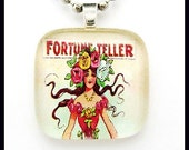 Fortune teller gypsy.  Glass pendant with ballchain necklace