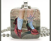 Wizard of oz red shoes - Glass tile pendant with ballchain necklace