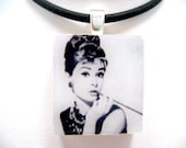 FREE 18 INCH BALLCHAIN WITH PENDANT- 'AUDREY IN GRAY' SCRABBLE TILE PENDANT