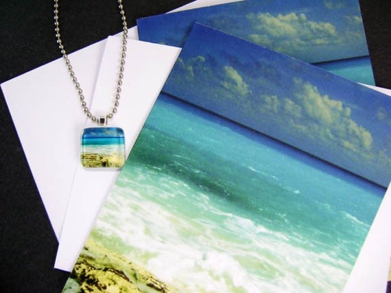 FUSED GLASS IMAGE PENDANT AND MATCHING NOTECARDS SET-'THE BEACH'