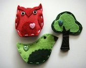 RESERVED - Wool Felt Hair Clips - bird, tree, owl