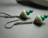 Teepee Triangle Turquoise December Birthstone Sterling Silver Chain Earrings