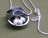 Blackened  Sterling Silver Moon Pearl Pendant Necklace