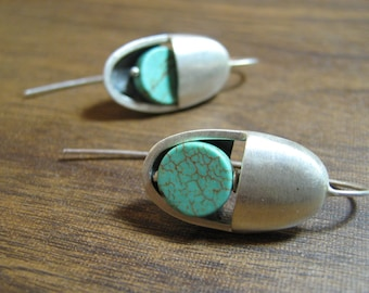 Geometric  December BirthstoneTurquoise Sterling Silver Earrings oval circles
