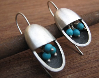 December Birthstone Tuquoise  Mod Earrings Oval