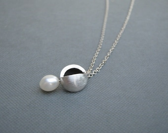 White Pearl Sterling Silver Orb Pendant Necklace Reversible