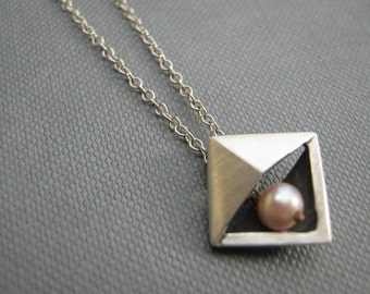 Pyramid Triangle Pink Pearl Silver Pendant Necklace