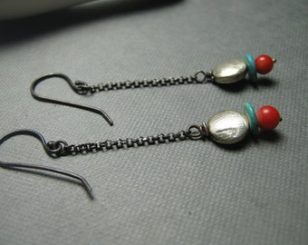 Turquoise Red Coral  December Birthstone Silver Chain Earrings