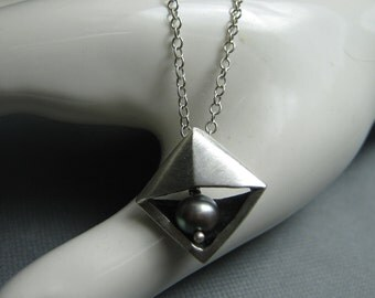 Silver Pearl Triangle Pendant Necklace