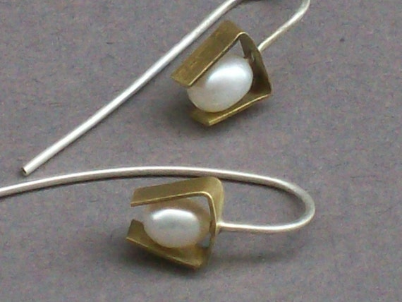 Little Bridal Pearl Brass Modern Earrings June Birthstone
