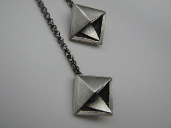 Pyramid Chain  Triangle  Long Sterling Silver Earrings