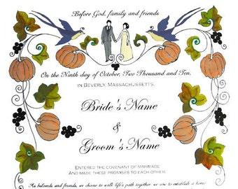 Wedding Vows or Certificate in Fall Theme -original artwork