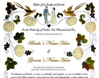 Wedding vows or ketubah in Fall theme - Print