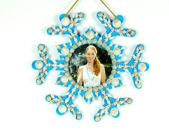 Handmade Seashell Snowflake Photo Frame blue for beach decor