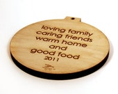 personalized retro circle ornament Baby's First Christmas in Maple or Walnut FREE SHIPPING