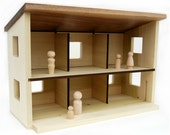 Wood Toy Barn or Dollhouse - modern wooden modular play house
