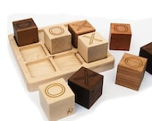 Tic Tac Toe Wooden Game Toy - organic wood blocks with tray