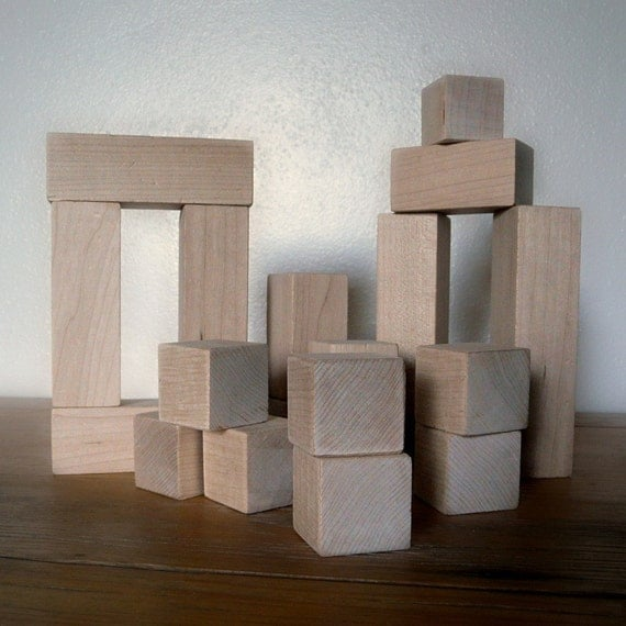 organic building BLOCKS 18 piece fractional squares\/rectangles wooden Maple set