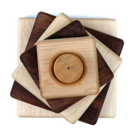 Maple\/Walnut wood stacking toy