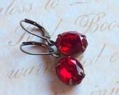 Kelly's Earrings - Fiery Red Vintage Glass Jewels in Aged Brass or Silver Tone