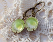 Early Spring Melt - Vintage Green Givre Glass Jewel Earrings in Aged Brass or Silver Tone