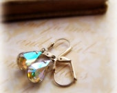 Tiny Water Drops Earrings - Vintage Glass Aurora Borealis Jewels in Silver Tone or Aged Brass