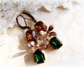 SALE HALF OFF Woodland Earrings, Vintage Glass Rhinestone Jewel Earrings, Copper Brass Leaves, Green and Brown