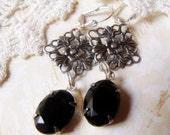 Victorian Black Roses - Vintage Glass Rhinestone Earrings - Dark Noir Jewels - Floral Filigree - Set in Silver Tone