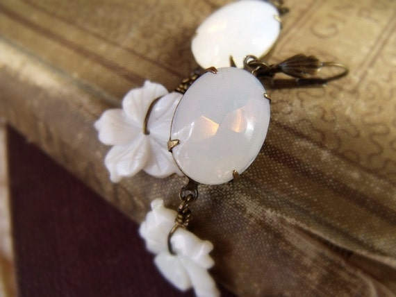 Moonstruck Earrings - Vintage Opal Glass Jewel and Mother of Pearl Flowers in Bronze