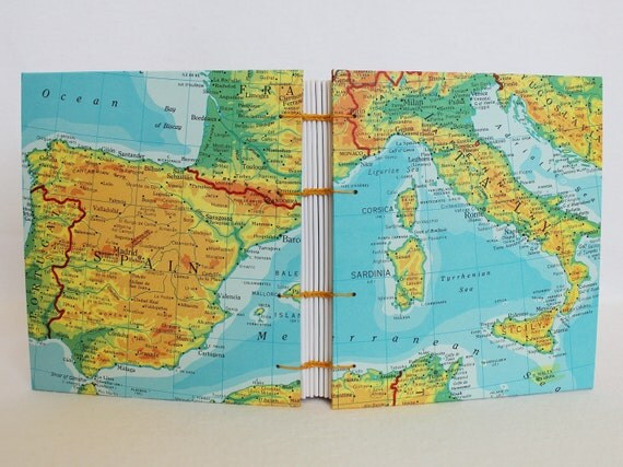 Italy Spain Portugal Mediterranean Travel Map Journal by PrairiePeasant