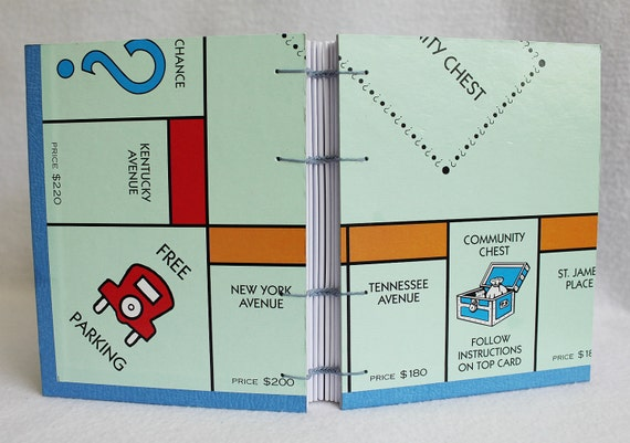 Monopoly Journal 05 Recycled Game Board Book by PrairiePeasant